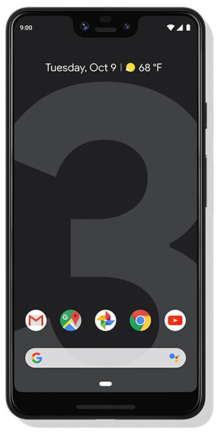 Google Pixel 3XL front facing in black