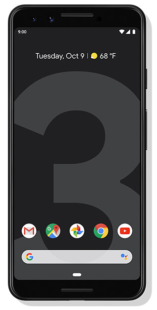 Google Pixel 3 front facing in black