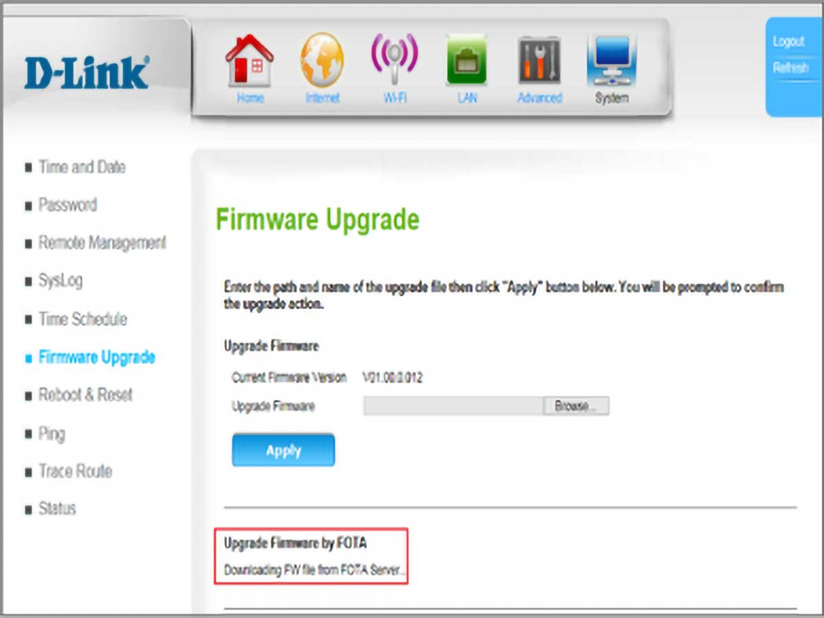 D-Link 4G LTE Router DWR-961 New Version Downloading Screen